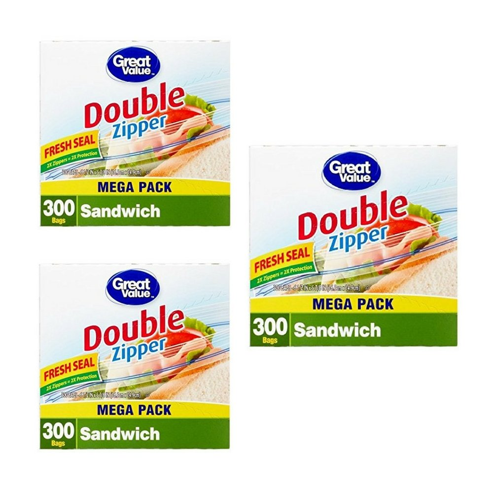 Great Value Double Pinch & Seal Zipper Food Storage Bags, Sandwich (3 Pack)