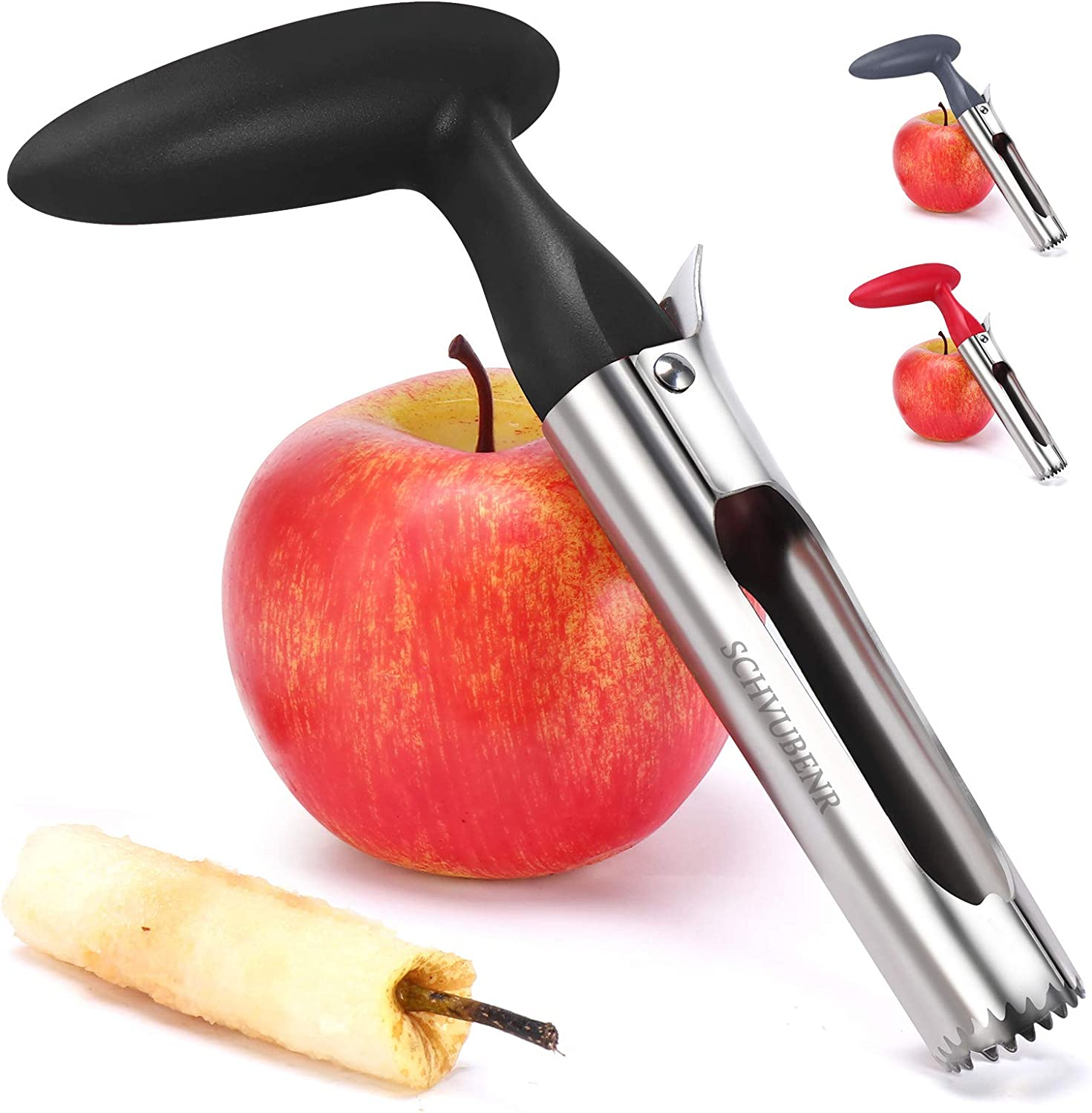 SCHVUBENR Premium Apple Corer Tool - Easy to Use and Clean - Sturdy Apple Core Remover with Sharp Serrature - Stainless Steel Corers for Apple and Pear - Core Fruits with Ease(Black)