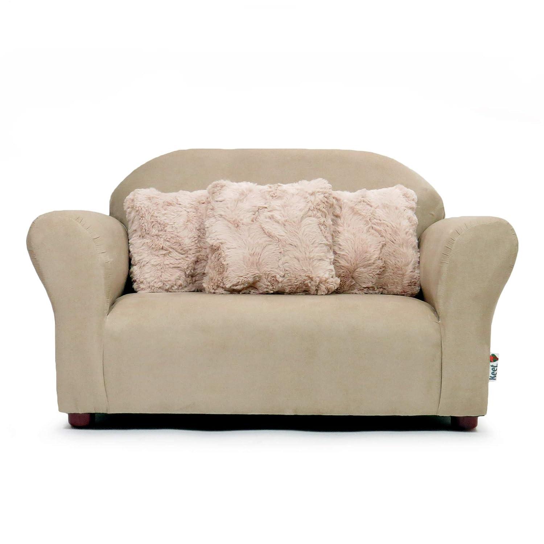 Keet Plush Childrens Sofa with Accent Pillows, Khaki
