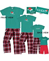 Christmas Nice-Naughty 2 Sided Holiday Pajamas Sleepwear for Adults, Playwear for Kids Whole Family