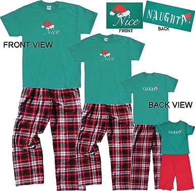d92d51e16a Amazon.com  Christmas Nice-Naughty 2 Sided Holiday Pajamas Sleepwear ...