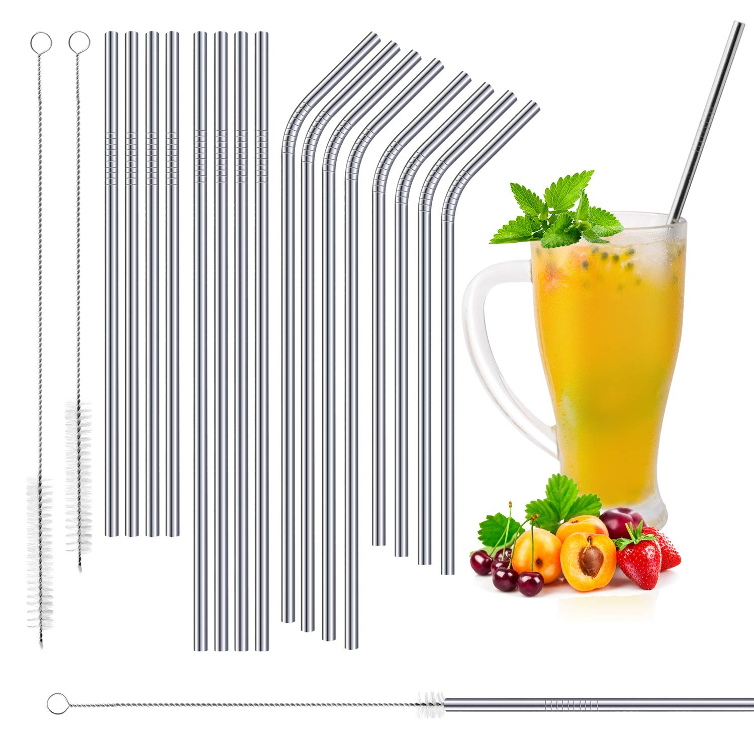 Liffree Set of 16 Stainless Steel drinking Straws Eco-friendly Replacement Straws for 30oz 20oz Yeti Rambler, RTIC, Ozark, Trail Tumblers, Metal Drinking Reusable Straws with 2 Cleaning Brushes