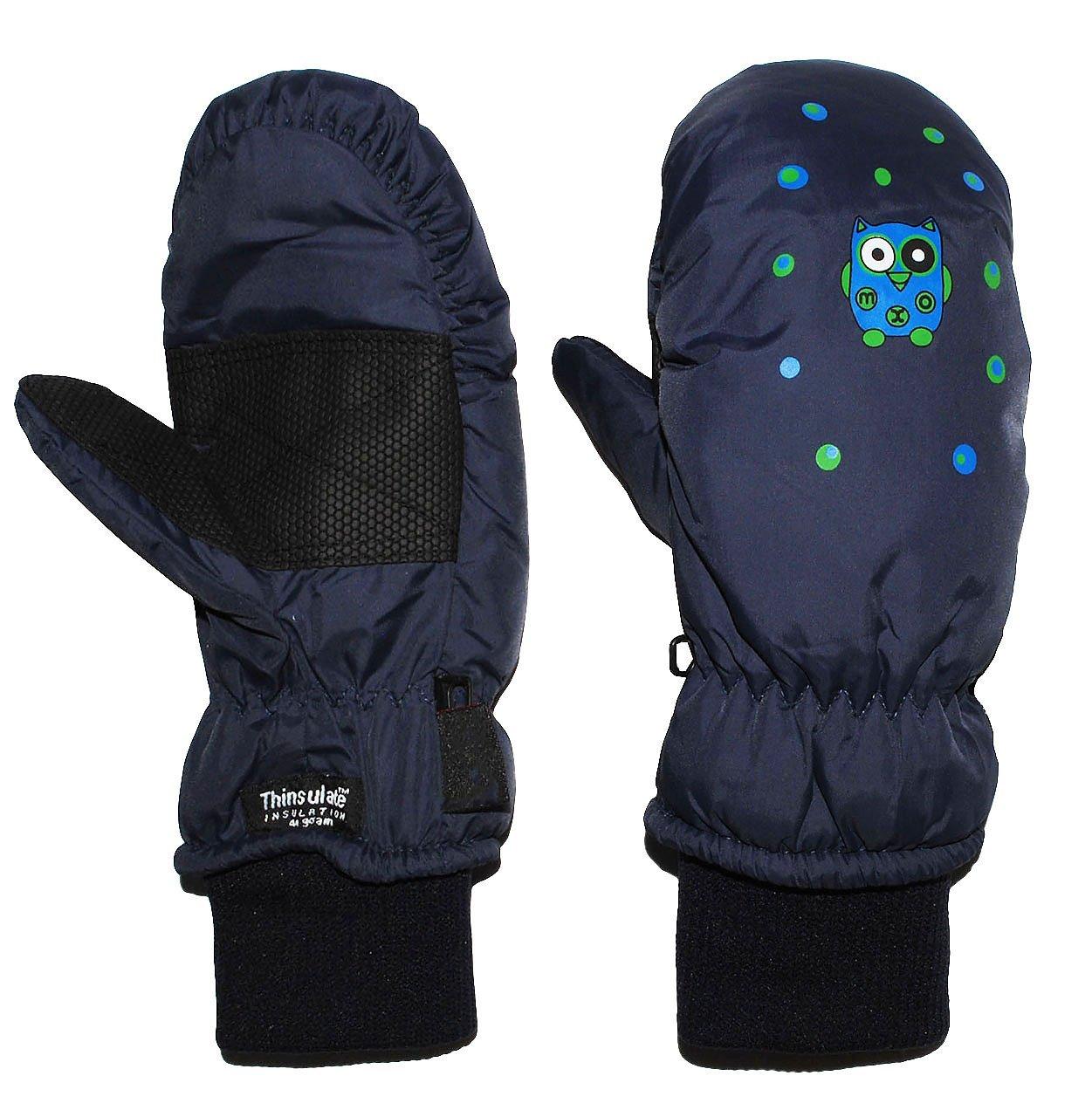 Handschuhe / Fausthandschuhe - mit langem Schaft / Bündchen - Eule - dunkelblau / blau Eulen - Gr. 3 - 4 Jahre - Thermo gefüttert Thermohandschuhe - wasserdicht + atmungsaktiv Thinsulate / Fausthandschuh Handschuh - Kinder Mädchen Jungen