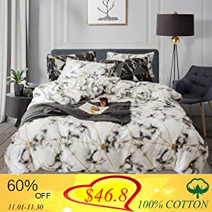 Wellboo Geometric Duvet Cover White Marble Modern Bedding Sets Cotton Gold Abstract Triangle Bedding Cover Set Queen Full Plaid Square Texture Covers Men Women Adult Gingham Checkered Soft Luxury
