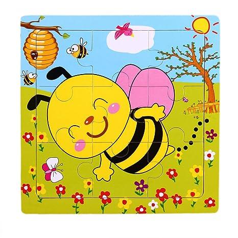 TOOGOO(R) Juegos de rompecabezas de madera con diseno de abeja con 9 partes