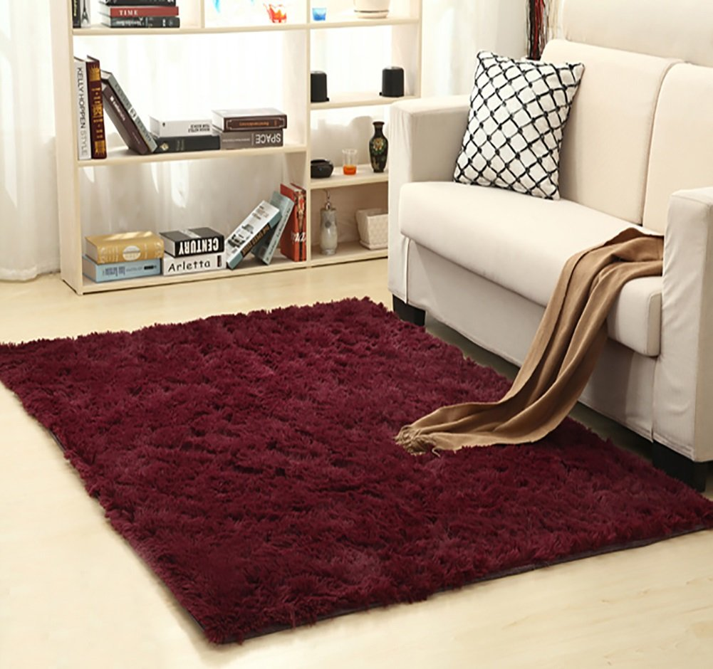 Ultra Soft Bedroom Carpet,Decorative Sitting Room Shaggy Area Rug, Fluffy Kids Playing Pad with Anti-Slip Bottom,Water Absorbent & Quick Dry Area Rug (Burgundy,31'' x 47'') by KAMA BRIDAL