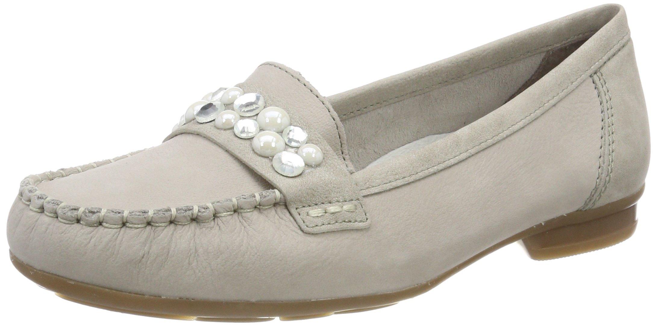 Rieker Women's Light Gray Leather Loafer Flat Shoe UK 7 - EU 40 - US 9