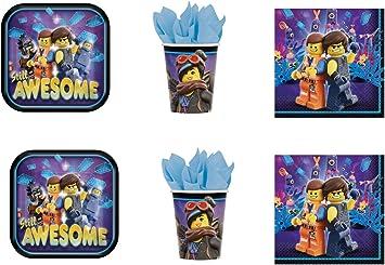 Movie - Juego de Mesa de Fiesta de Lego Movie - Kit n.° 18 CDC (16 Platos, 16 Vasos, 20 servilletas): Amazon.es: Juguetes y juegos