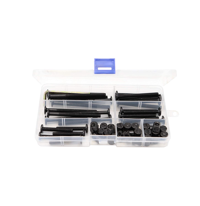 M6 x 40mm// 50mm// 60mm// 70mm// 80mm binifiMux 50pcs Black Hex Socket Cap Bolts Barrel Nuts Assortment Kit for Crib Baby Bed Cots Furniture