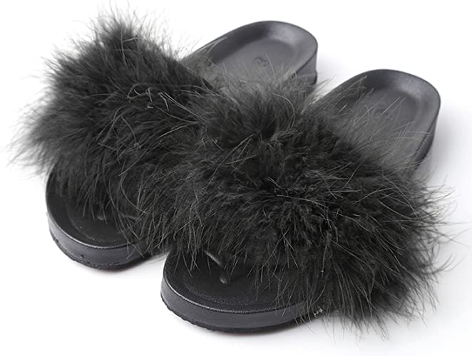 Kingwhisht Fur Slippers Furry Slide Ostrich Feather Home Slippers Flip Flops Beach Sandals Flats Home Shoes