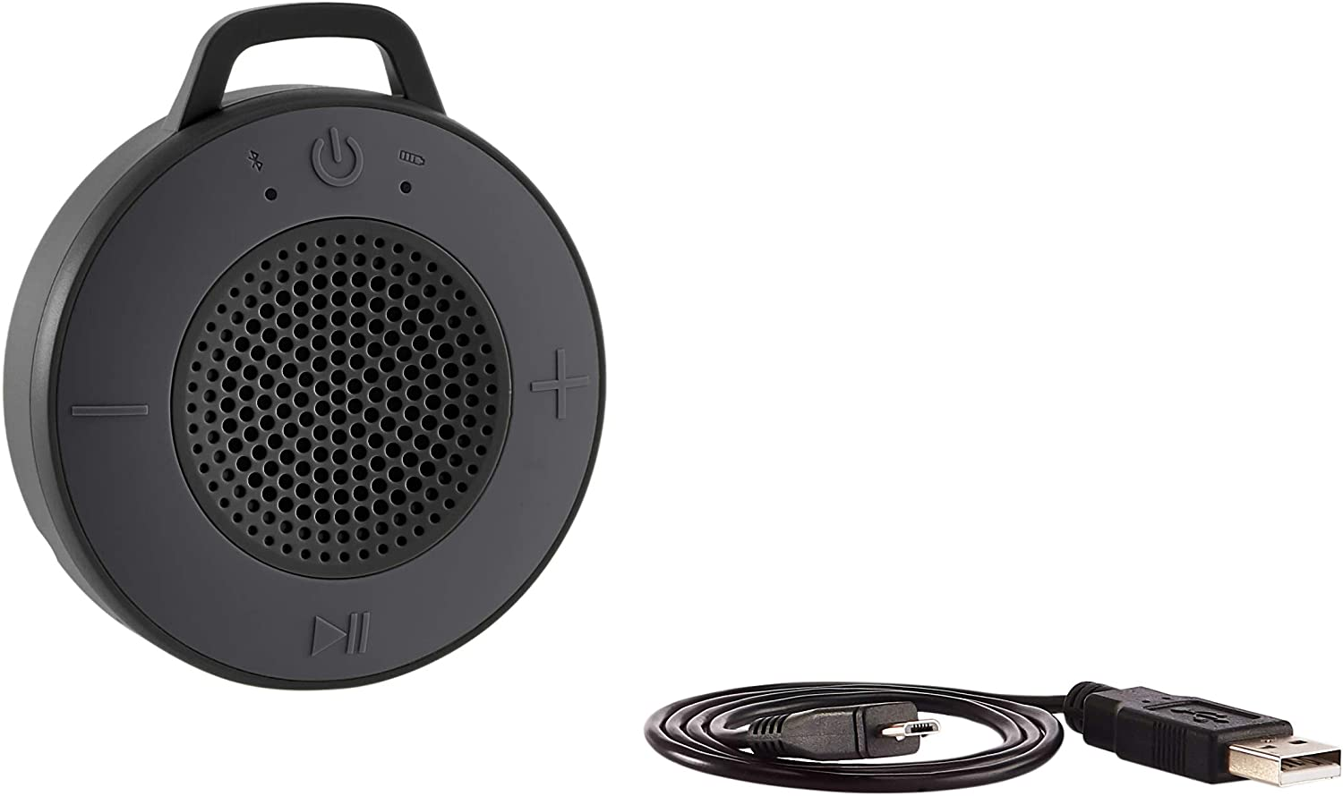AmazonBasics Wireless Shower Speaker with 5W Driver, Suction Cup, Built-in Mic - Gray