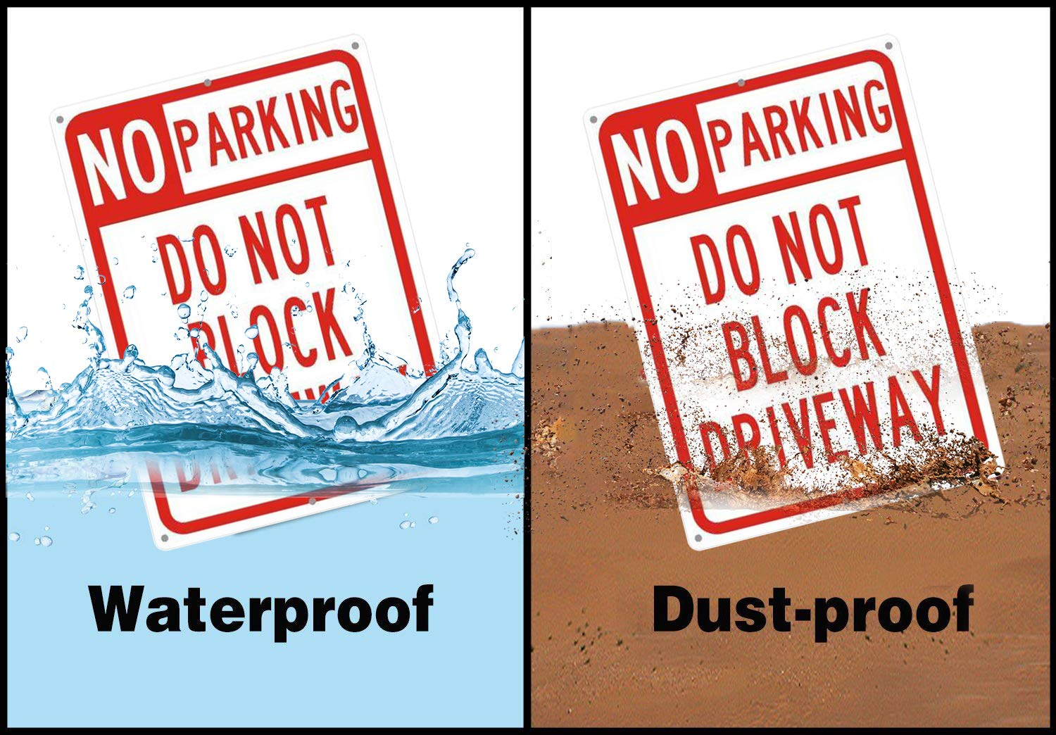 No Parking Do Not Block Driveway Sign,14x10 Rust-Free Aluminum UV Printed Two Pre-drilled Holes for Easy to Mount,Weather Resistant Long Lasting Ink for Driveways//Bussiness//Garage//Yard