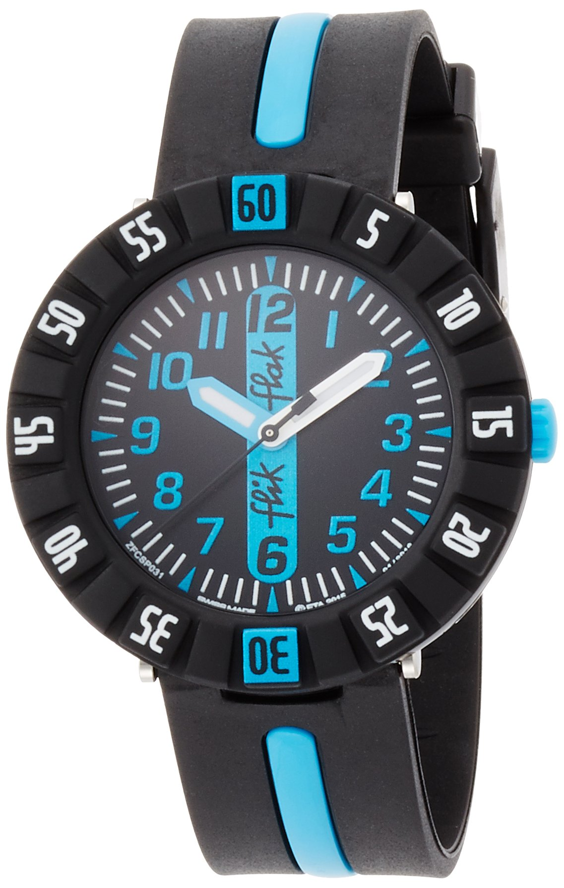 Flik Flak Sunny Hours Blue Ahead Black Dial Plastic Strap Boys Watch ZFCSP031