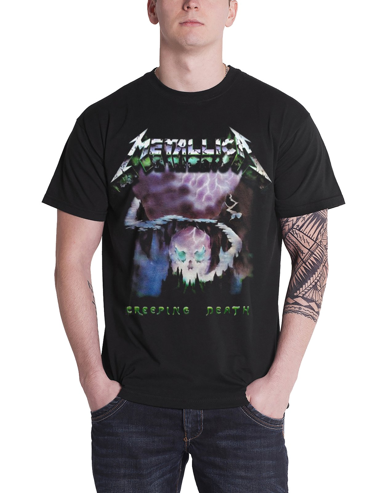 Metallica T Shirt Creeping Death Song Ride The Lightning Official Mens Black