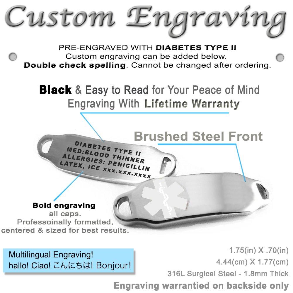 Black//White Millefiori Glass Pattern White Pre-Engraved /& Customized Diabetes Type 2 Medical Bracelet My Identity Doctor