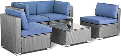 SUNCROWN 5 Piece Patio Outdoor Furniture Sets, All-Weather Grey Wicker Sectional Sofa with Glass Table Denim Blue Cushion