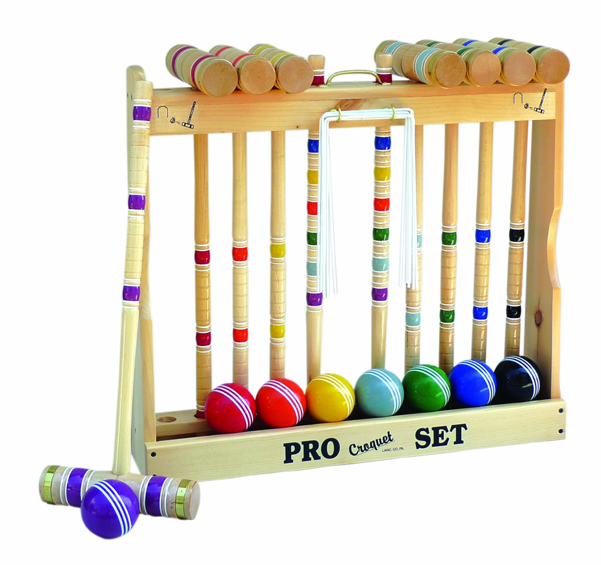 Amish-Crafted Deluxe Wooden Croquet Game Set, 8 Player (32'' Handles)