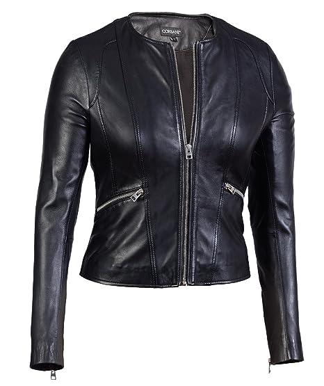 Womens Collarless Round Neck Genuine Leather Jacket Lambskin At