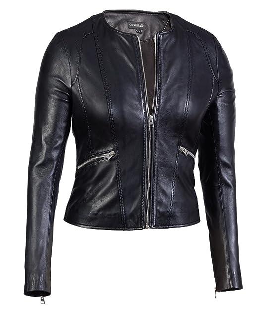 good texture designer fashion purchase genuine Womens Collarless Round Neck Genuine Leather Jacket – Lambskin
