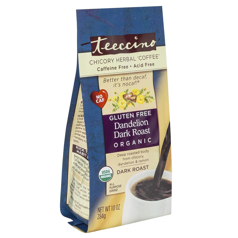 Teeccino Dandelion Herbal Coffee Alternative – Dandelion Dark Roast – Organic Dandelion Root, Prebiotic, Caffeine Free, Gluten Free, Acid Free, Ground Coffee Substitute, Dark Roast, 10 Ounce