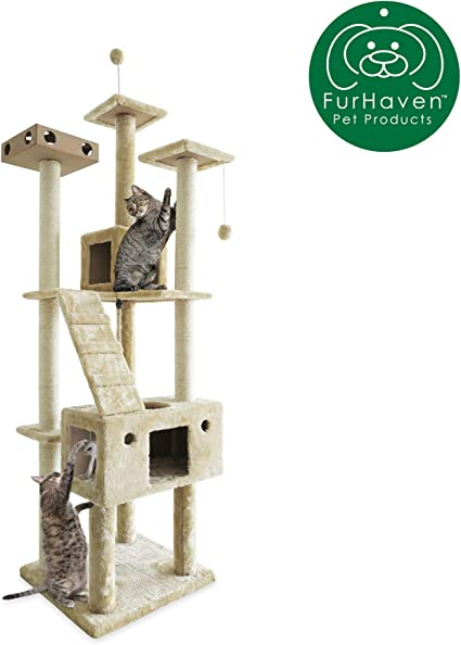 Pet Supplies Cats Ladder Playground Fur Haven Tiger Tough Cat Tree House Furniture For Cats And Kittens Floor To Ceiling Brown Taraazi Com