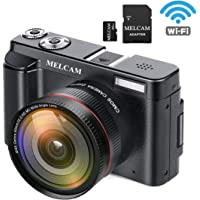 Melcam 24MP Full HD 1080p Wi-Fi Digital Camera with Wide Angle Lens and 32GB SD Card
