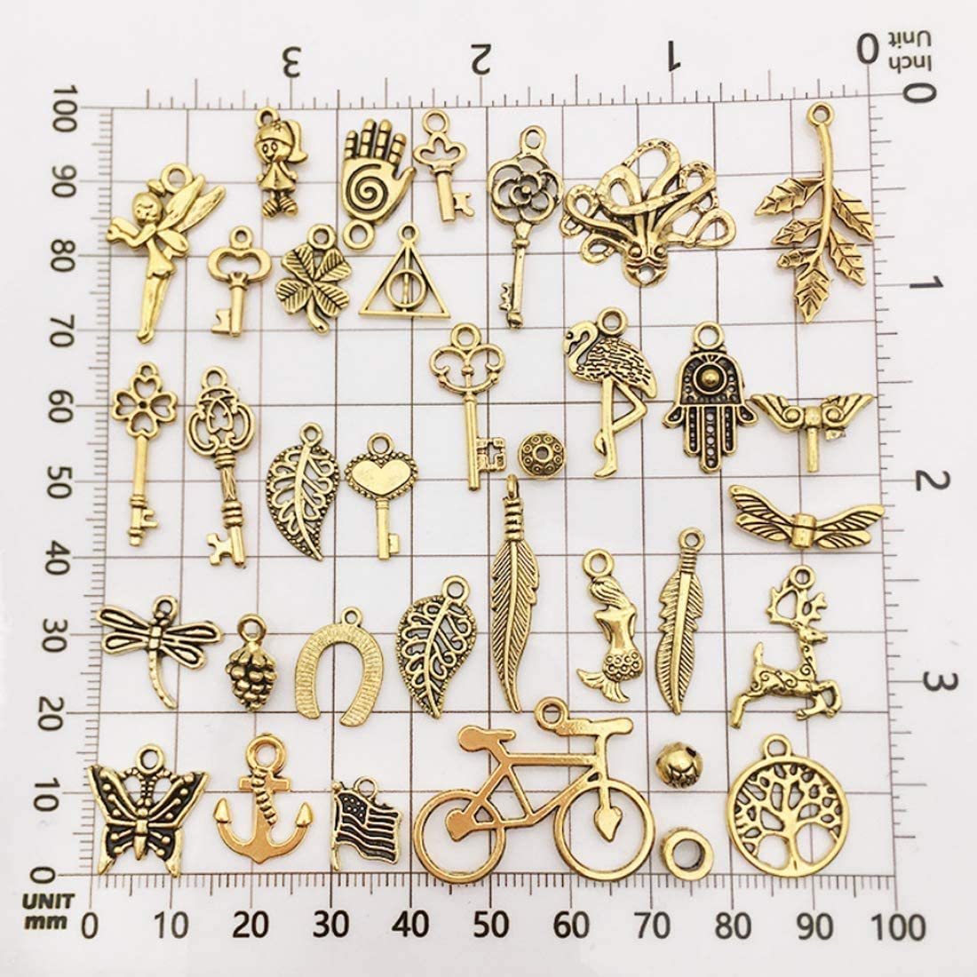 AleapDoll 200//300pcs Wholesale Bulk Charms for Jewelry Making Supplies Bracelet Charms Necklace Pendant Earring Tibetan Antique Gold Craft Supplies DIY Accessories