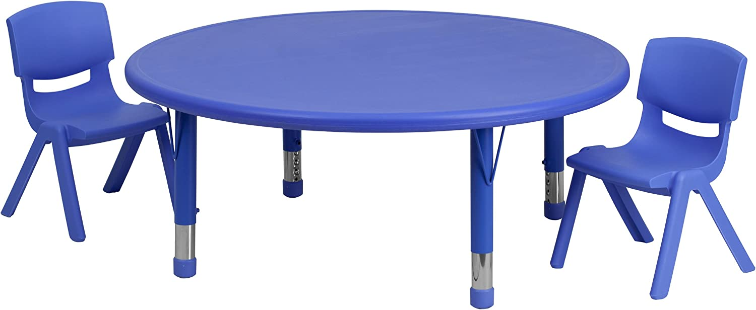 Flash Furniture 45'' Round Blue Plastic Height Adjustable Activity Table Set with 2 Chairs