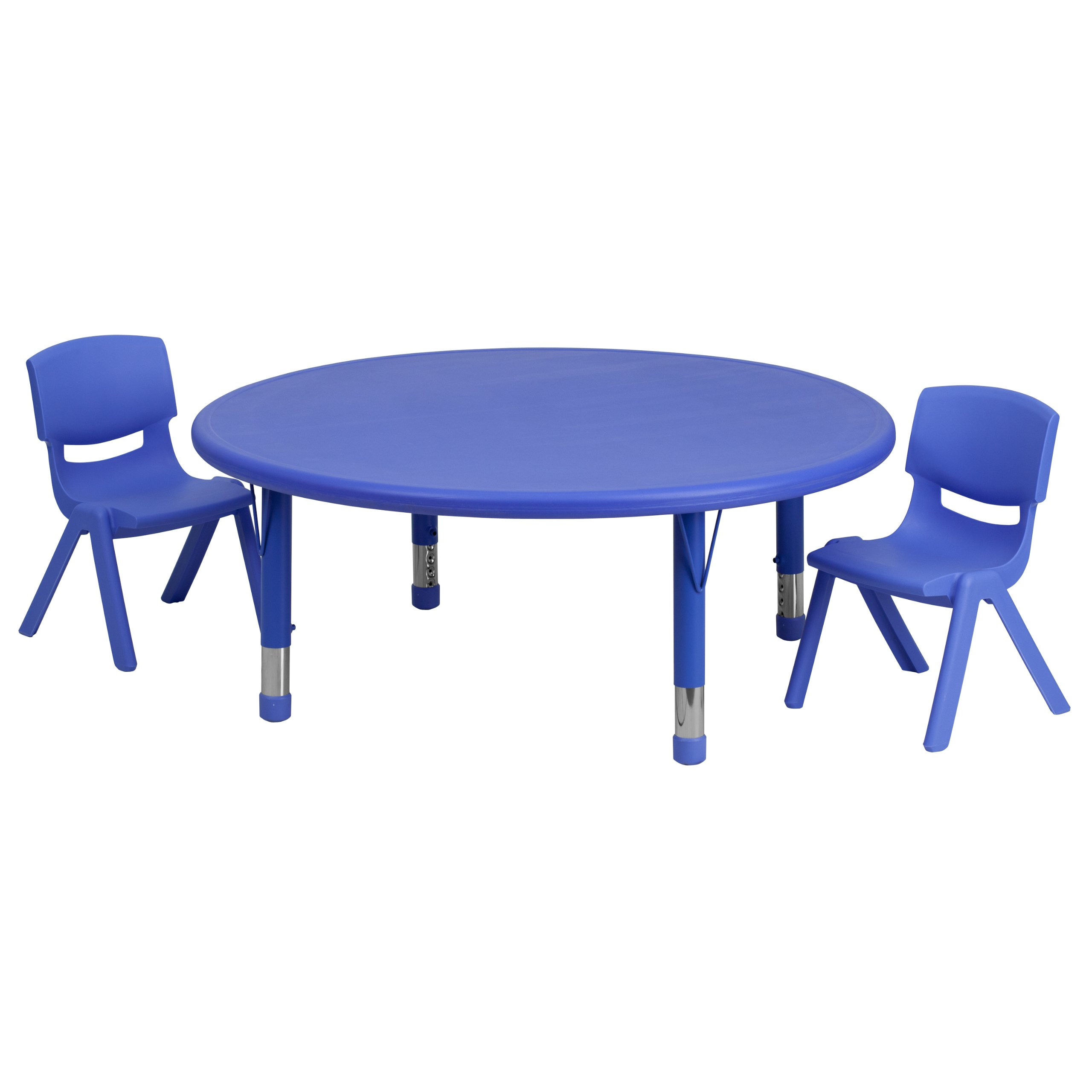 Flash Furniture 45'' Round Adjustable Blue Plastic Activity Table Set with 2 School Stack Chairs