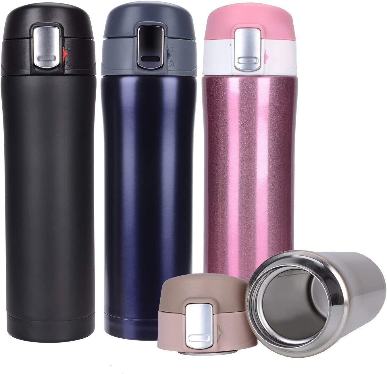 Hiwill Double Walled Vacuum Insulated Travel Coffee Mug, Stainless Steel Flask, Sports Water Bottle, One Hand Open (Classic Violet)