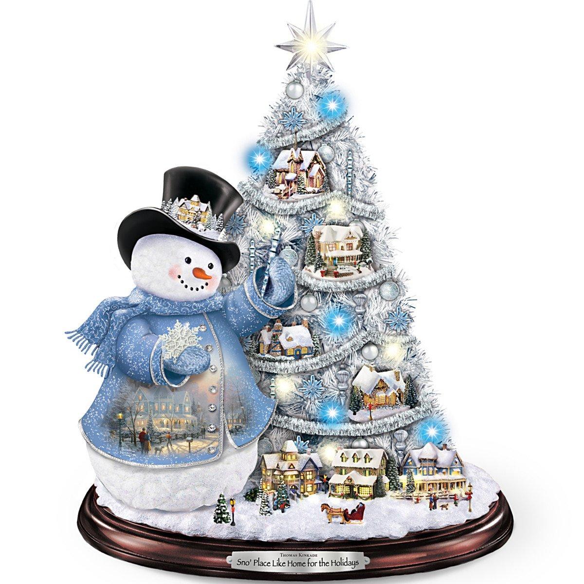 Kinkade christmas ornaments - Amazon Com Thomas Kinkade Snowman Pre Lit Christmas Tree Sno Place Like Home For The Holidays By The Bradford Exchange Home Kitchen