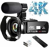 4K Video Camera Ultra HD Camcorder 48.0MP IR Night Vision Digital Camera WiFi Vlogging Camera with External Microphone…