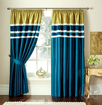 Green Curtains blue green curtains : Teal Blue & Lime Green Curtains - Luxury Pencil Pleat Lined 66