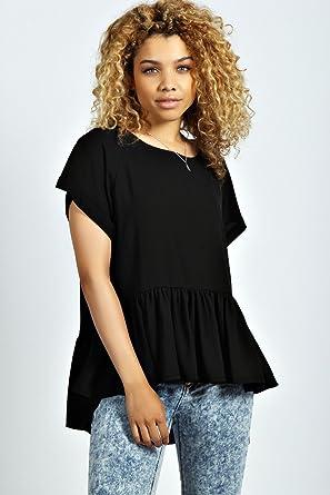 d9aa8ccccc4da Womens Ailish Woven Smock Peplum Top - 10 - Black  Amazon.co.uk  Clothing