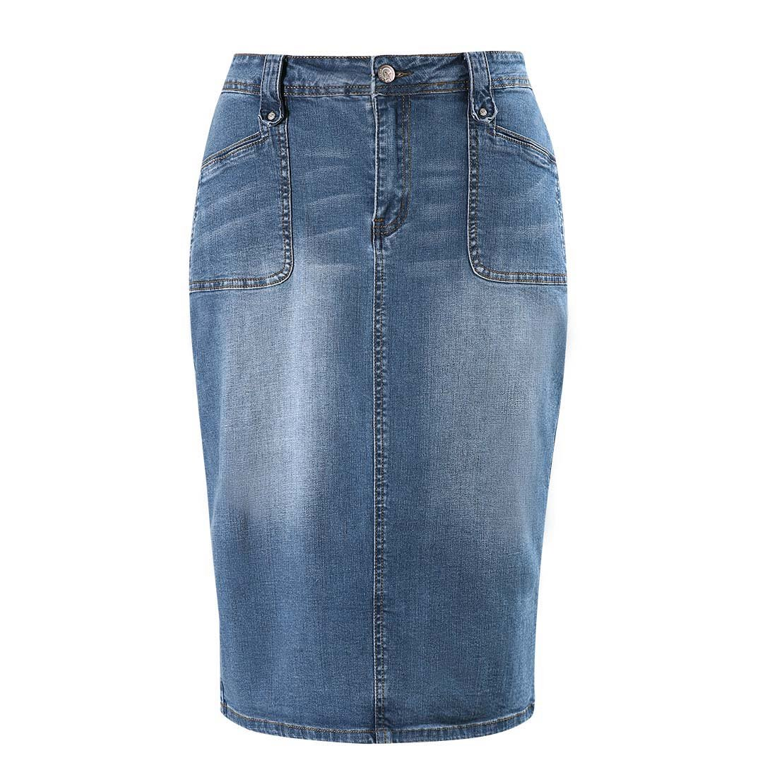 MSSHE Women's Plus Size High Waist Stretchy Pencil Denim Midi Skirt M11728(1)