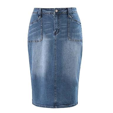 76277b23b9 MSSHE Women's Plus Size Knee Length Denim Pencil Skirts with Stretch 18W