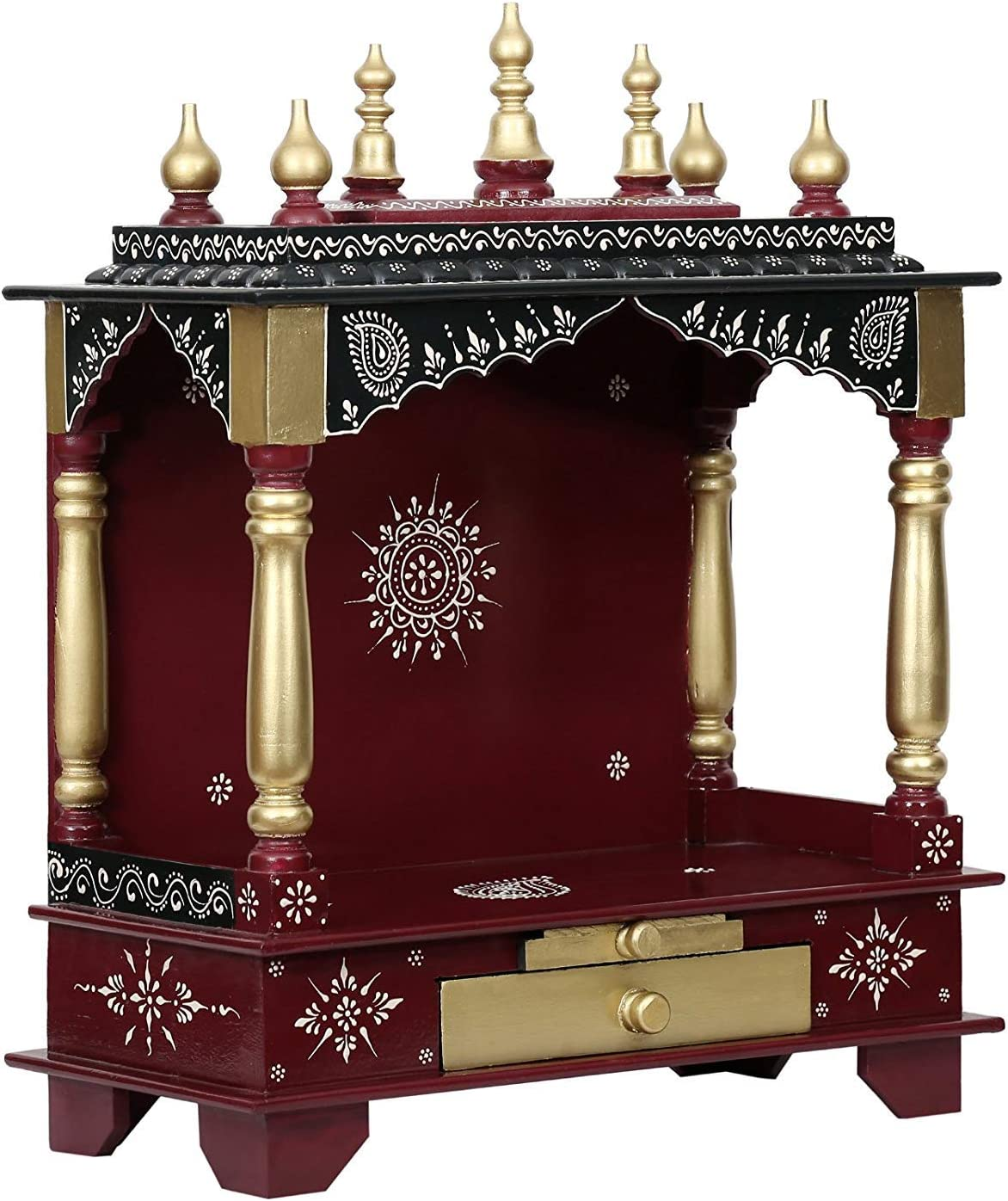 Indian Handicrafts Export Wooden Pooja Mandir (Large- 24 X 12 X 30 (WXDXH)-inches, Maroon)