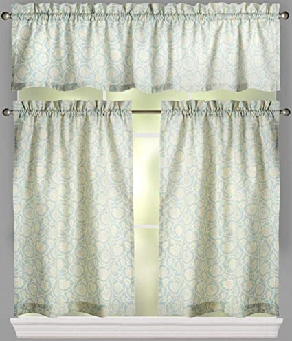 Traditions By Waverly 3-Pc Kitchen Window Tier Curtain Panel and Valance Set Lovers Lane Blue//Yellow Stripe Porcelain 52-inch Width