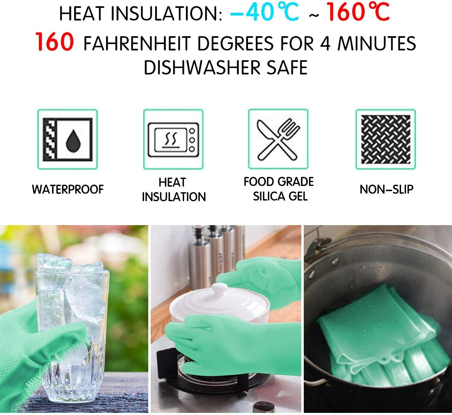 Kitchen Reusable Silicone Dish Wash Scrubbing Sponge Gloves with Bristles for Household Car,Bathroom Letlar Magic Saksak Silicone Cleaning Gloves Brush Scrubber Pet and More Washing Dish