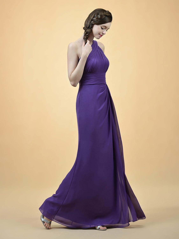 Alicepub Long Pleated Chiffon Bridesmaid Dress One Shoulder Party ...