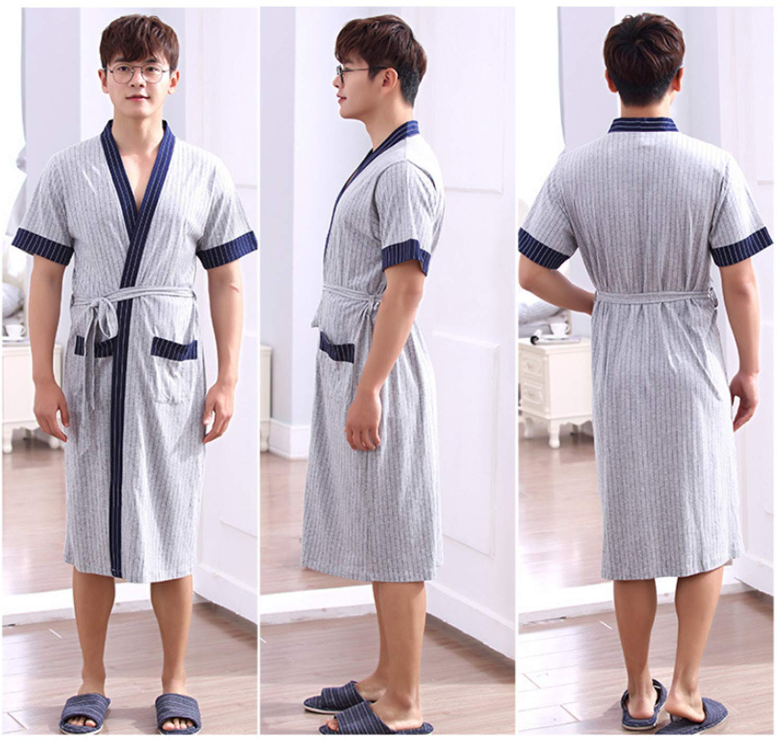 BIANJESUS Men Bathrobes Nightwear Adult Older Lightweight Thin Striped Long Sleeve Cotton Soft Satin Spring Autumn Summer