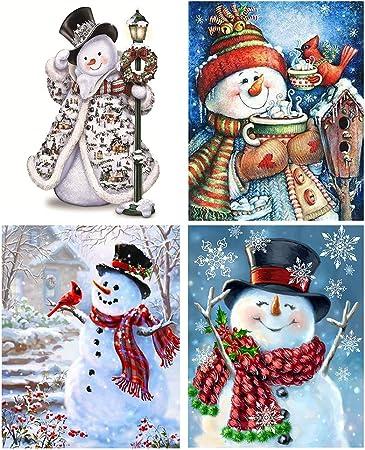 Christmas Gifts Festival Decor Full Drill DIY 5D Diamond Painting Kits Snowmen