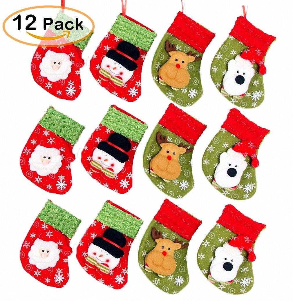 Cute Christmas Mini Stocking 6-1/4'' Great Gift Xmas Party Favors Supplies Decorative Little Treats Santa 3D Rustic Stockings Goodies Bags Stuff Silverware/Utensils Holders 12 Pack