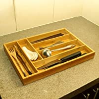 YATAI Bamboo Cutlery Tray & Utensil Organizer For Kitchen Drawers - 6 Compartments Cutlery Holder For Silverware…