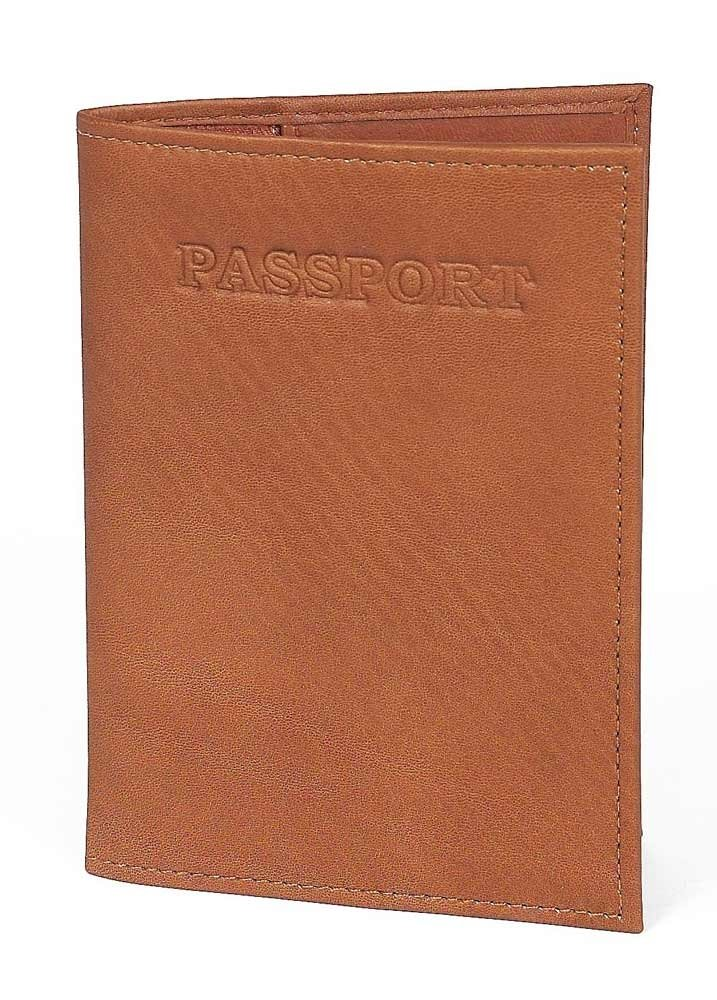 Claire Chase Leather Passport Case in Saddle