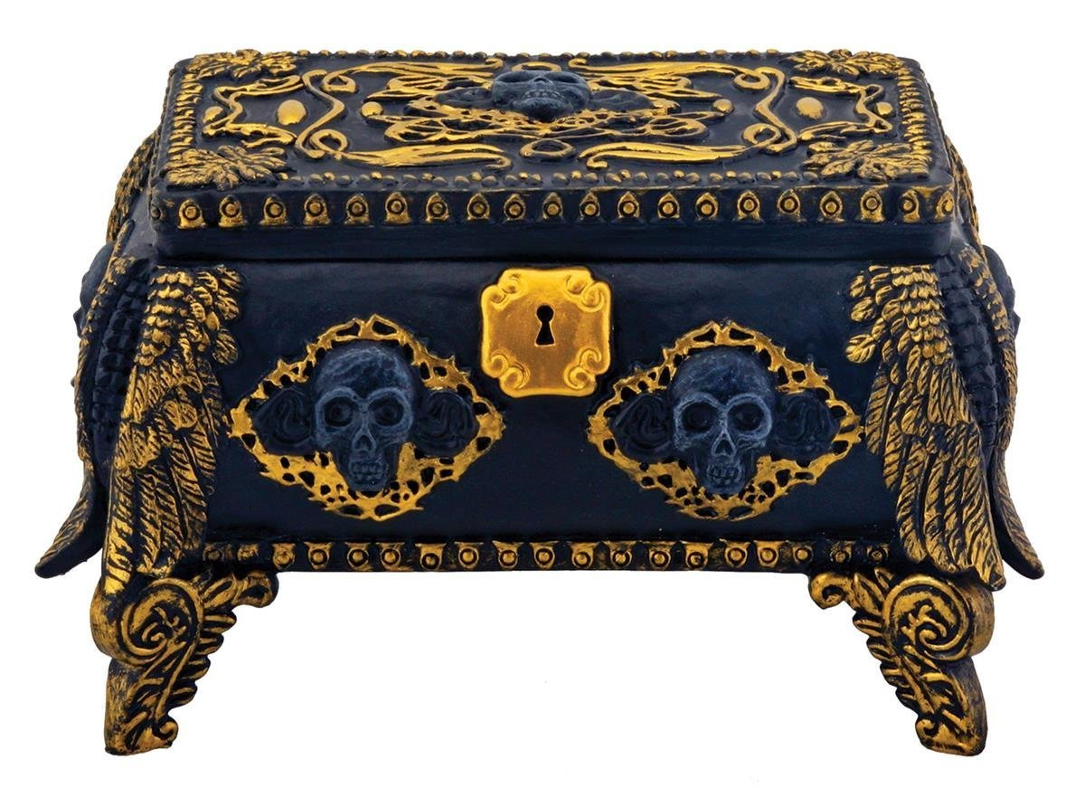 Amazoncom Gold and Black Skull Jewelry Holder Box Container with