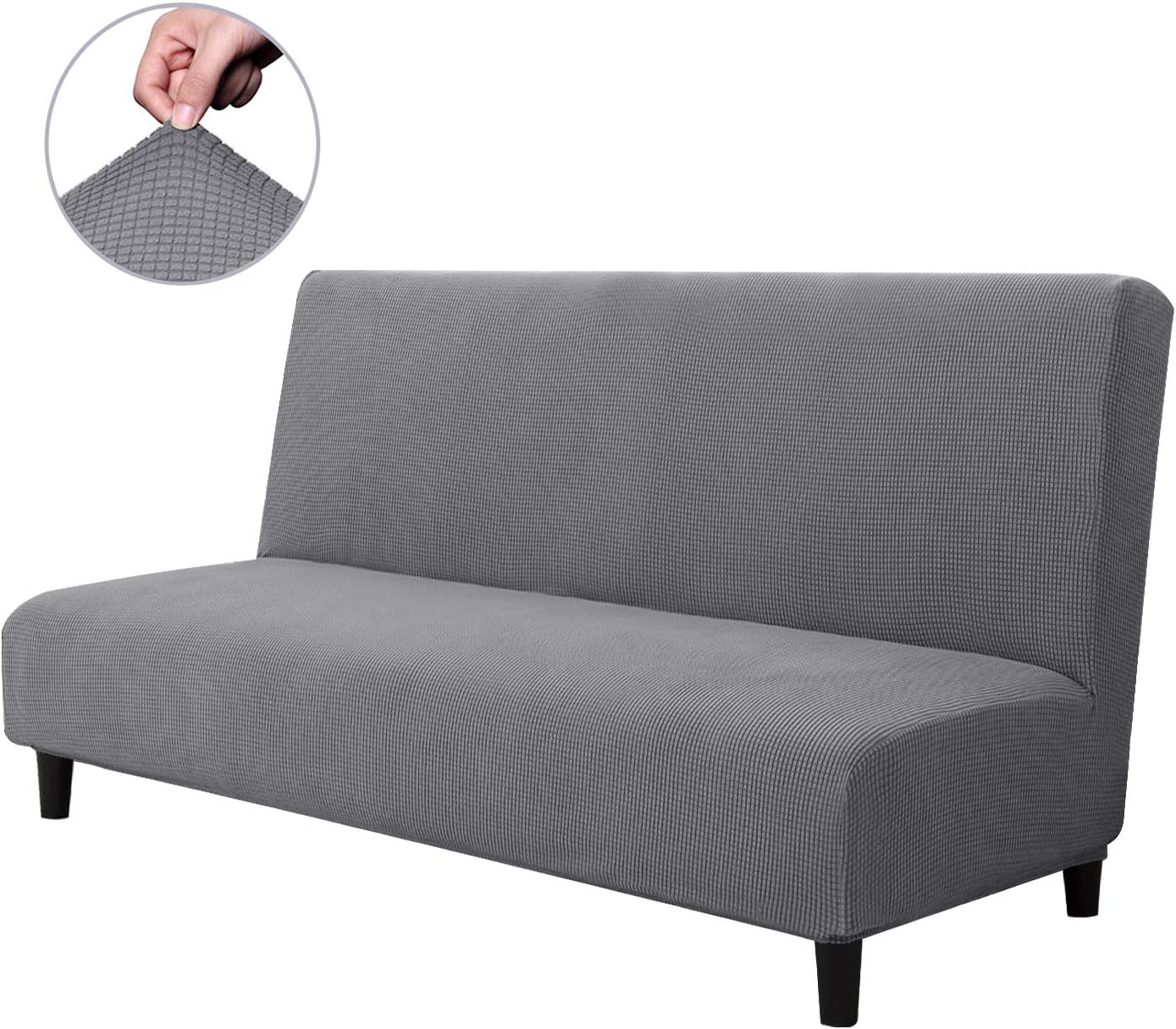 CHUN YI Armless Sofa Slipcover Elastic Fitted Full Folding Sofa Bed Cover Without Armrests,Removable Machine Washable Non-Slip Furniture Protector for Futon Couch Bench (Sofa, Light Gray)
