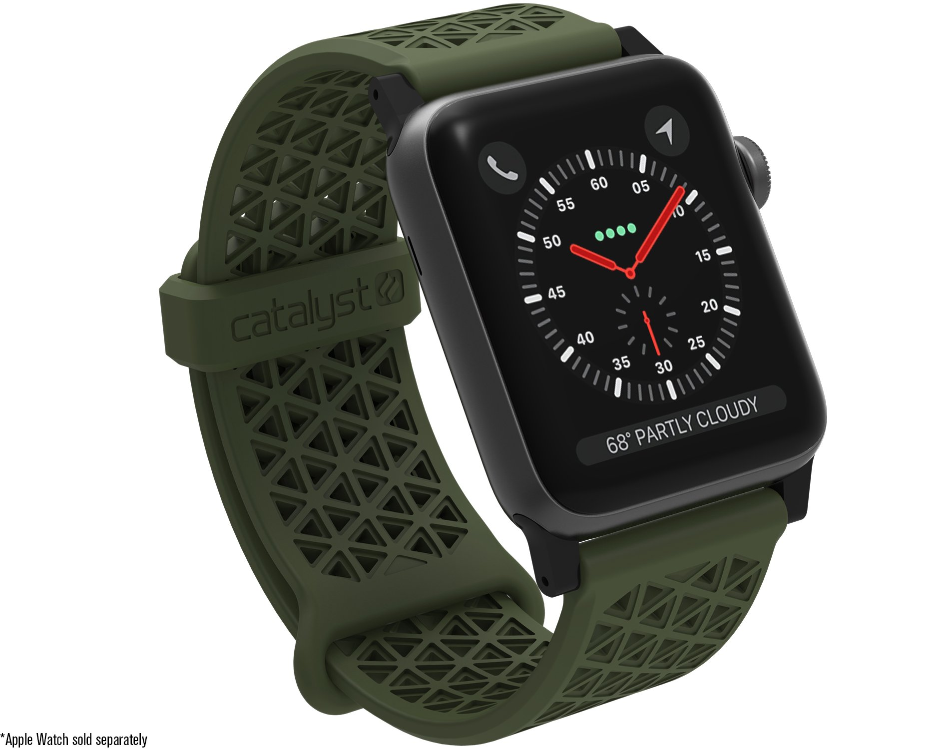 Catalyst Hypoallergenic Watch Band 42mm Silicone Sports Bands (24mm) Compatible Apple Watch Series 1, 2 & 3 and The 44mm Series 4 Quick Release Spring bar,Breathable iWatch Wristbands, Army Green