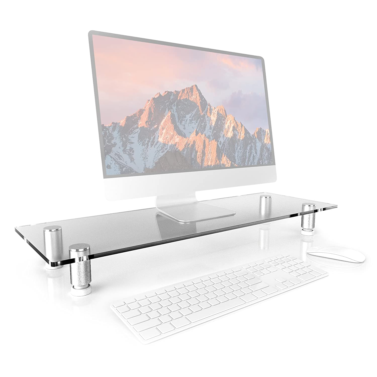 Duronic DM052-4 Monitor Stand Riser for Desk PC Computer Monitor | Laptop and TV Black Glass