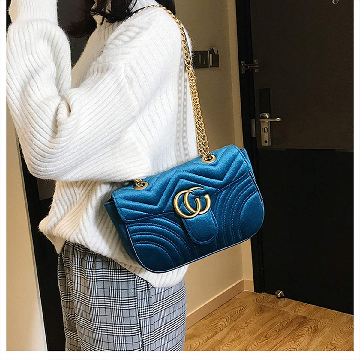 Blau, 26 /× 20 /× 8 /× 15cm Samt rhombische Kette Tasche Schulter Sling kleine Tasche weibliche Mode Handtaschen Textur Tasche 2019 neue wild